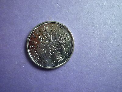 Gt Britain - Rare Proof Uncirculated 1970 Sixpence Coin