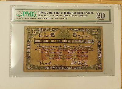 Chartered Bank of India, Australia & China of 1924 $5 Hankow VF20  Handsignsture