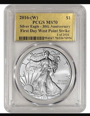 2016-(W) American Eagle - PCGS MS 70 First Day West Point Strike Gold Foil Label