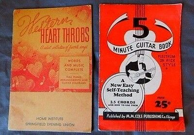 5 Minute Guitar Book & Western Heart Throbs Music book with cords 1930's