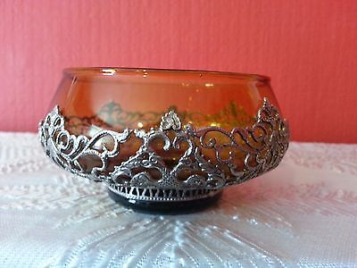 Unusual Vintage Amber Glass Bowl With Double Headed Eagles White Metal