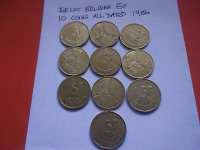 Job Lot Of 10 Belgian 5 Francs Coins[#g875] All Dated 1986
