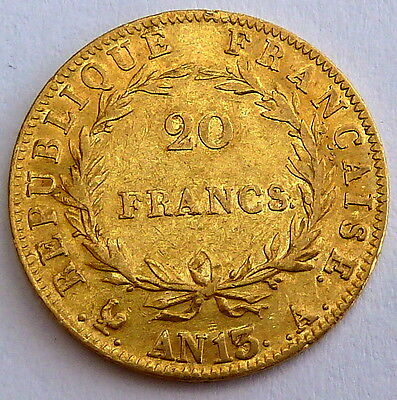 FRANCE NAPOLEON BONAPARTE 20 FRANCS YEAR 13  6.45 gr. 0.1867 oz. 0.900 gold