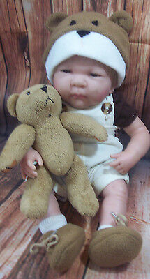 Berenguer life like boy doll size 16 inch with BEAR,+Outfit bear hat shoes socks