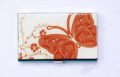 Beautiful Red Butterfly Stainless Steel Business Card Holder Credit Card Case