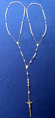 "Crystal Wedding Rosary Italy Gold Tone 1/2"" bead 50"""