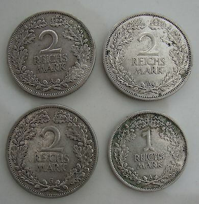 3 x 2  Deutsche Reichsmark Mark & 1 x Reichs Mark  Weimarer Republik Germany