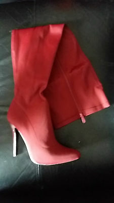 NEW wine burgundy Thigh High long Boots stiletto heel smooth stretch material 40