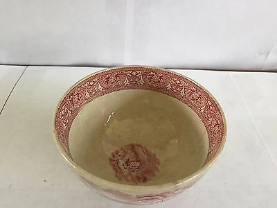 Antique Vintage E. M. Co Made Italy Red Transferware Finger Bowl Ceramic