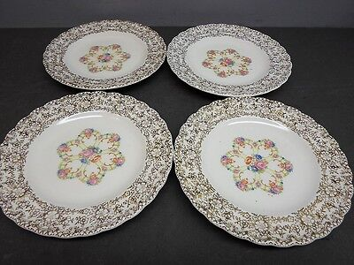 """4 Sebring Pottery Fortune 22 K Gold 6"""" Plates in Excellent Condition"""