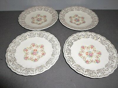 """4 Sebring Pottery Fortune 22 K Gold 5.75"""" Saucers in Excellent Condition"""