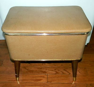 Vintage Burlington Hawkeye  Retro Sewing Box/Bench with Lots of Notions