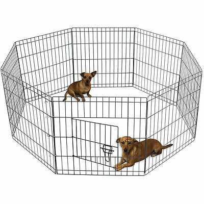 "OxGord 48"" Tall Wire Fence Pet Dog Folding Exercise Yard 8 Panel Metal Play-Pen"