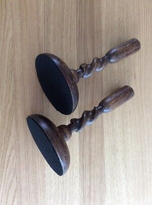 Vintage Pair Wooden Barley Twist Fluted Candlesticks