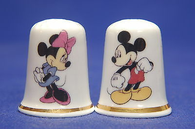 Disney Mickey & Minnie Set of 2 China Thimbles B/42