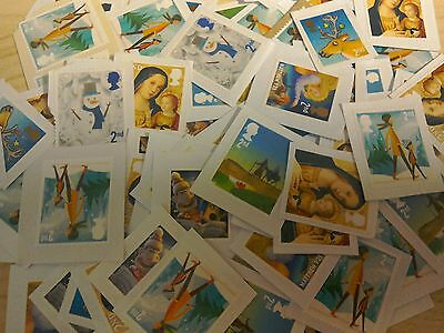 100 small 2nd class unfranked Christmas stamps on paper face value £56