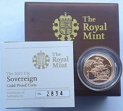 2011 Gold Proof Sovereign Royal Mint Box & C.O.A