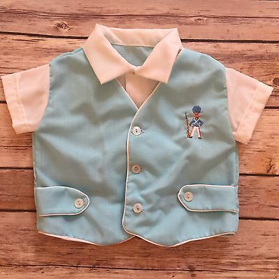 VTG 12 mo Boy's Short Sleeve Shirt Embroidered Soldier Collar Button Front Blue