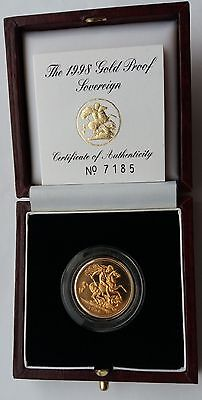1998 Gold Proof Sovereign Royal Mint Box & C.O.A