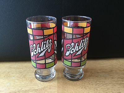 SCHLITZ BEER vintage drinking glass stained-glass