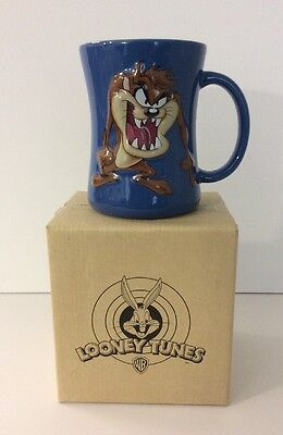 Looney Tunes Taz Mug Tasmanian Devil Blue Yellow 3D Ceramic Coffee Mug 2005 NEW