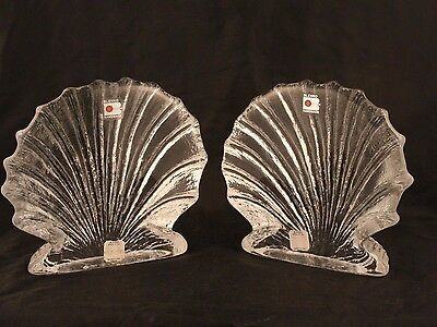 Blenko Clam Shell Bookends With Original Labels & MiltonTags MINT