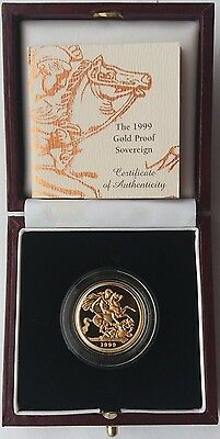 1999 Gold Proof Sovereign Royal Mint Box & C.O.A