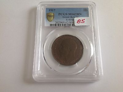 1917 Great Britain Penny PCGS MS 62 Brown