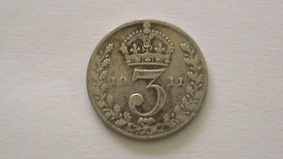 1911 KING GEORGE V SILVER 3d COIN