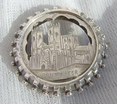 Antique VICTORIAN Sterling SILVER York Minster Brooch Hallmarked Birmingham 1884