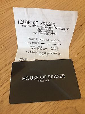 House Of Fraser Gift Card / Voucher - £45
