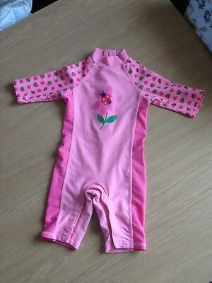Baby girl Mothercare pink sun protection suit, aged 6-9 months