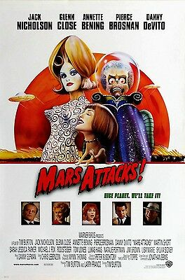 MARS ATTACKS LAMINATED MINI MOVIE POSTER TIM BURTON A4 PRINT style 1