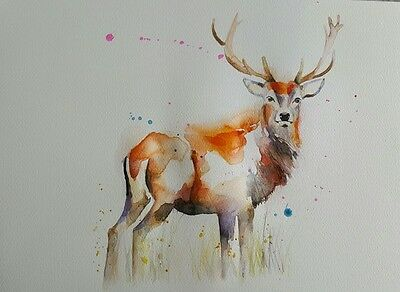 """ELLE SMITH ART. ORIGINAL RARE SIGNED LARGE WATERCOLOUR PAINTING.16x12"""" STAG"""