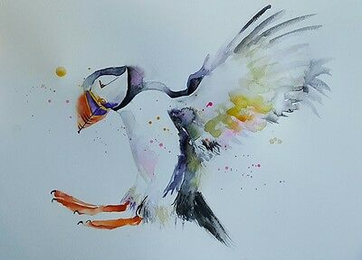 """ELLE SMITH ART. ORIGINAL RARE SIGNED LARGE WATERCOLOUR PAINTING. 16x12"""" """"PUFFIN"""""""