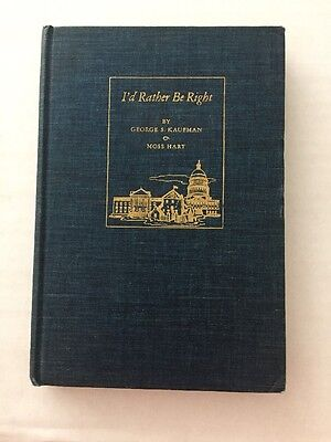 """Hardcover Libretto of """" I'd Rather Be Right"""" By Rodgers & Hart. , 1937"""