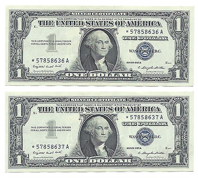 Consecutive 1957A $1 STAR Silver Certificate Notes (2) Crisp Dollar Banknotes.