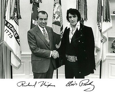 President Richard Nixon & Elvis Presley Autographed Oval Office 8.5x11 Photo