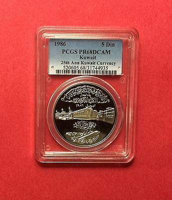 KUWAIT -1986 UNC CURRENCY 25th ANNIVERSARY SILVER 5 DINARS PCGS PR68 DEEP CAMEO.