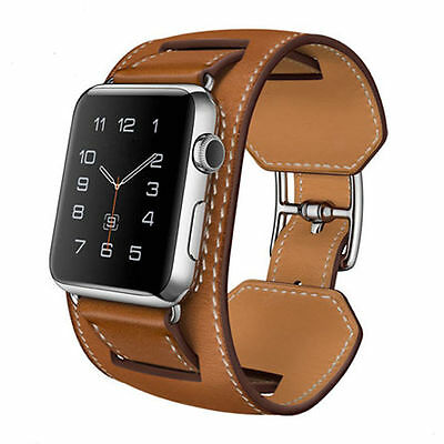 Apple watch iwatch brown premium leather cuff strap watchband 42 mm