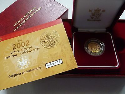 2002 Royal Mint Golden Jubilee Shield Gold Proof Half Sovereign Coin Boxed & Coa