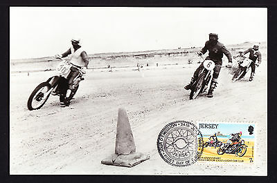 Jersey 1980 Stamped postcard Race Bike Motorbike Sport Racing St. Ouen's Bay