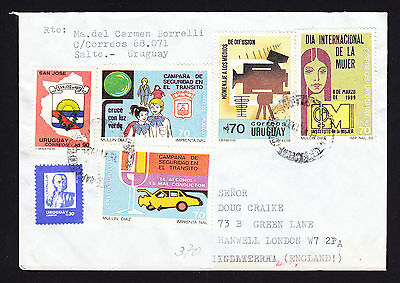 1990 multi franked Airmail Cover from Uruguay to London England