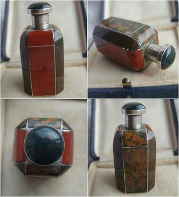 Scarce Victorian Sterling SILVER & Scottish AGATE Perfume SCENT Bottle c1880