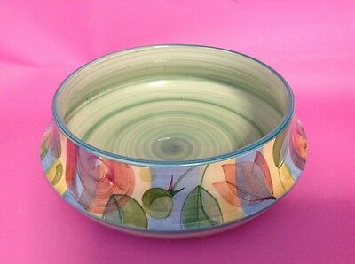 """JERSEY POTTERY HAND PAINTED FRUIT BOWL - 7"""" diameter 4"""" high Excellent condition"""