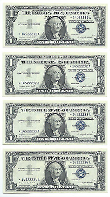 Consecutive 1957A $1 STAR Silver Certificate Notes (4 ) Crisp Dollar Banknotes.