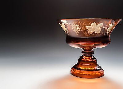 Vintage Egermann Bohemian amber cut to clear glass compote bowl dish