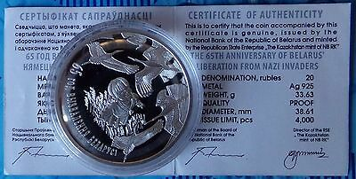Belarus 20 Rubles 2009 65th Anniversary of Belarus's Liberation Silver Proof