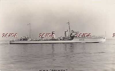 Royal Navy Real Photo. HMS Dainty Destroyer. Sunk by German bomber Tobruk. 1930s
