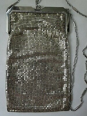 VTG Whiting & Davis Silver Tone Metal Mesh Purse WITH ORIGINAL BOX